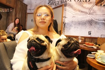 lady with her adorable pugs at pop up pug cafe
