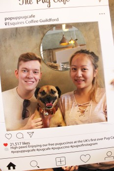couple and dog pose at pop up pug cafe