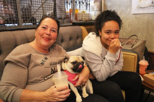 mother and daughter with pug at pop up pug cafe
