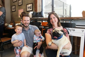 kids, parents and pugs at pop up pug cafe
