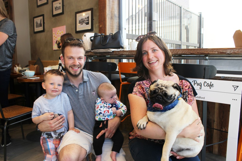 kids, parents and pugs at pop up pug cafe