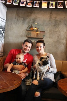 baby and pug at pop up pug cafe