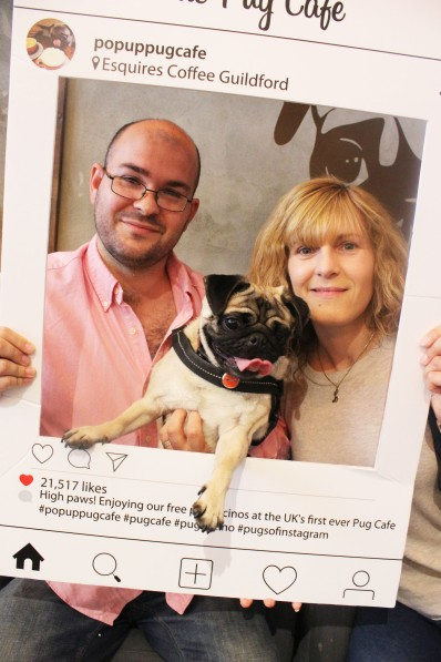 couple and fawn pug at pop up pug cafe