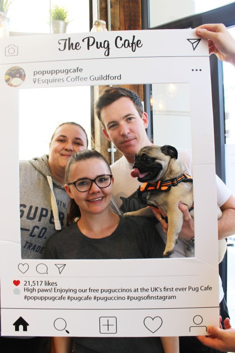 group of friends at pop up pug cafe
