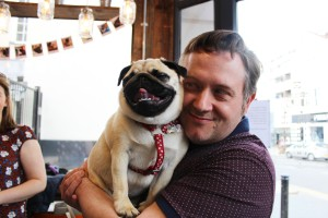 happy pug held by adoring owner at pop up pug cafe