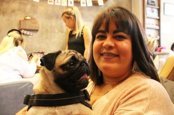 owner with her pug at pop up pug cafe