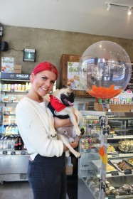 lady and her pug stand by balloon at pop up pug cafe