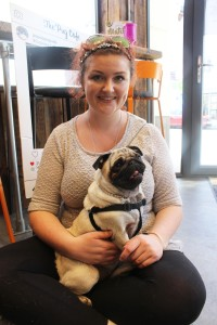 owner and pug sit on the floor at pop up pug cafe