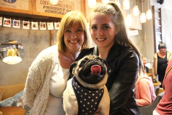 mum and daughter at pop up pug cafe