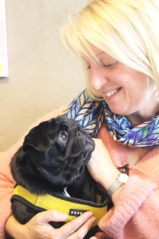 lady lovingly looks at her pug at pop up pug cafe