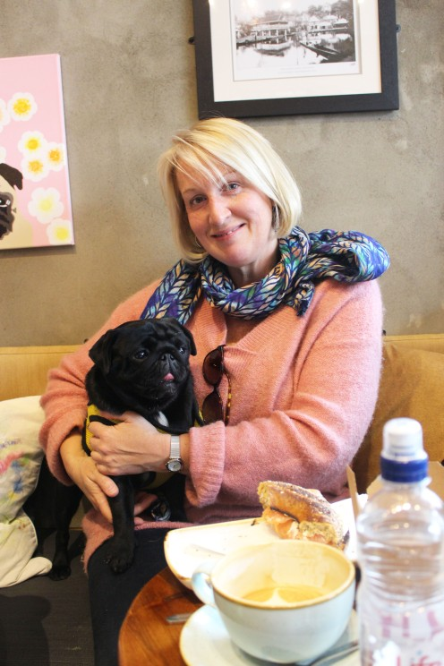 lady cuddles her pug at pop up pug cafe