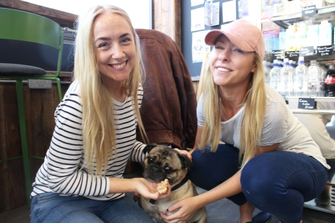 two pug owners at pop up pug cafe