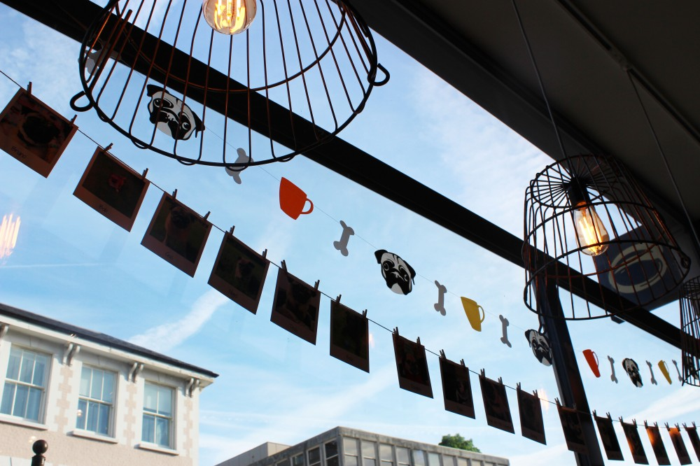 Pug Cafe Window & Bunting